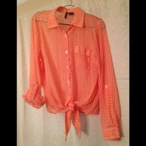 Long sleeve sheer button up blouse.